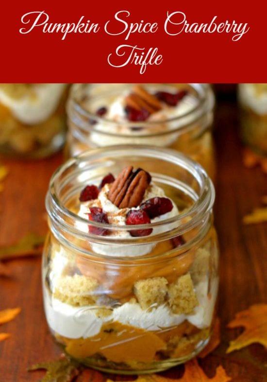Pumpkin Spice Cranberry Trifle, Pumpkin Desserts, Cranberry recipes, Thanksgiving desserts, desserts in jars, Ball Canning