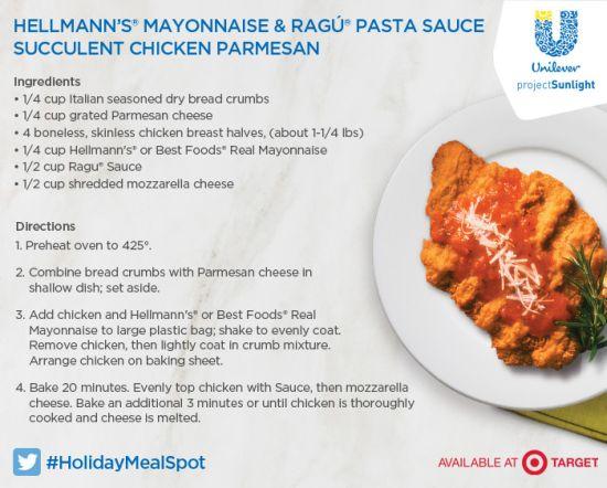 Target, Feeding America, Hellmans parmesan crusted chicken