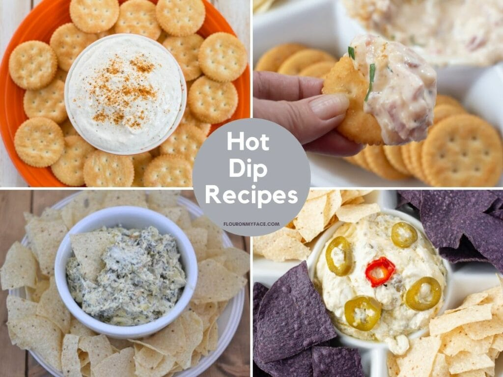 4 photo collage of hot dip recipes.