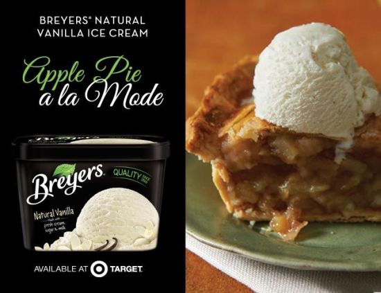 Breyers Ice Cream recipes, Apple Pie Breyers, Apple Pie recipe,