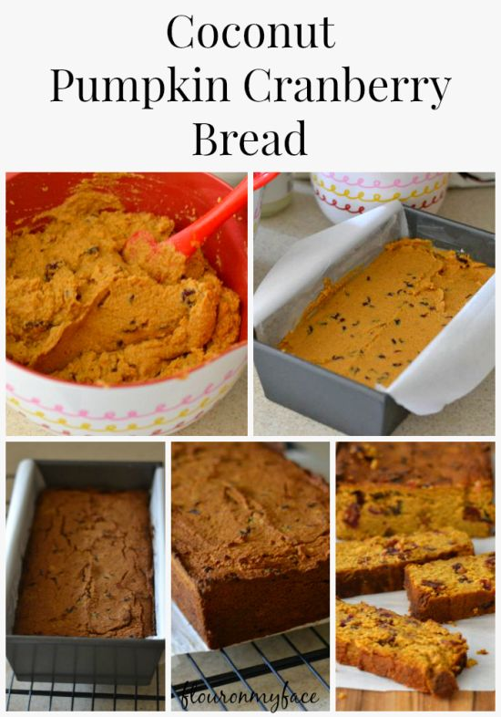 Coconut Pumpkin Cranberry Bread, Coconut flour recipes, gluten free, paleo pumpkin bread
