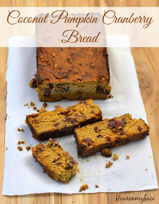 Coconut Pumpkin Cranberry Bread, Gluten free pumpkin bread, grain free recipe,