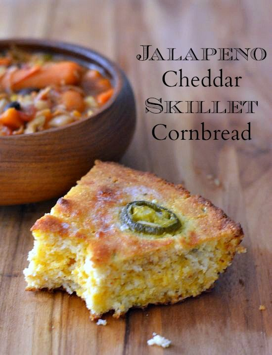 Jalapeno Cheddar Skillet Cornbread via flouronmyface.com #SweetSwaps recipe