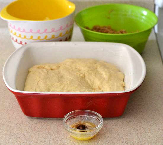 coffee cake dough, how to bake with yeats, rising dough, apple coffee cake, apple cinnamon streusel coffee cake