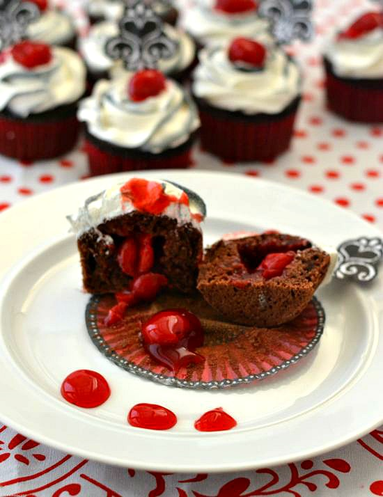 Filled Black Forest Cupcakes