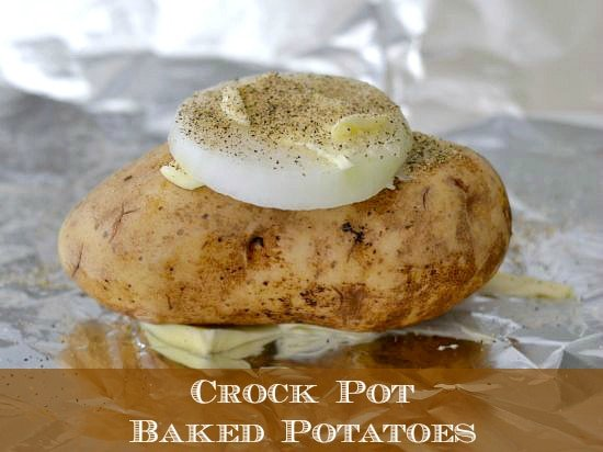 Crock Pot Baked Potatoes with a slice of sweet onion