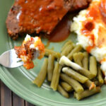 Crock Pot Meatloaf made with Campbells tomatoe soup and mashed potatoes