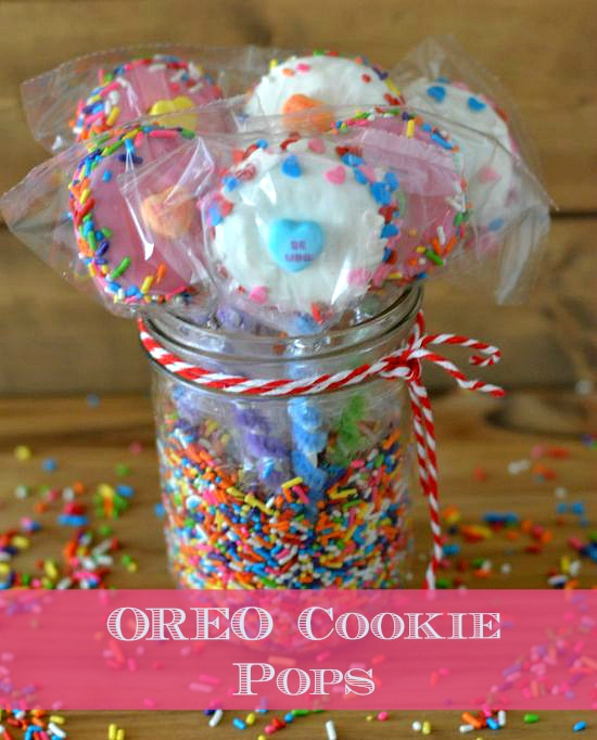 Valentine OREO Cookie Pops in a Mason Jar