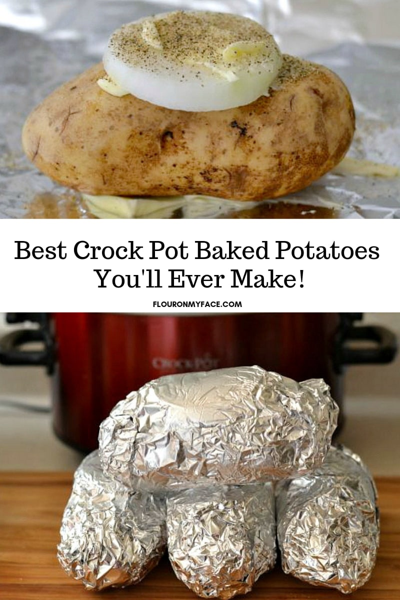 collage photo of making Easy Crock Pot Baked Potatoes