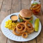Buffalo Chicken Sandwich with Alexia Onion Rings