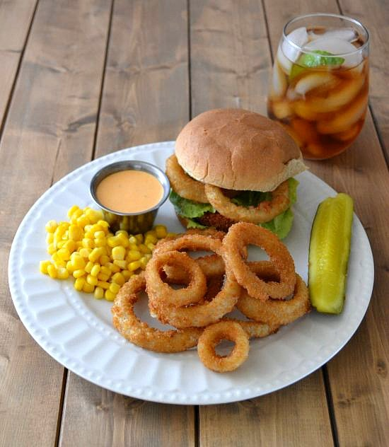 Buffalo Chicken Sandwich with Alexia Onion Rings