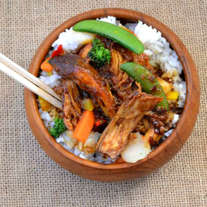 Chicken Teriyaki with white rice and vegetables in a bowl.