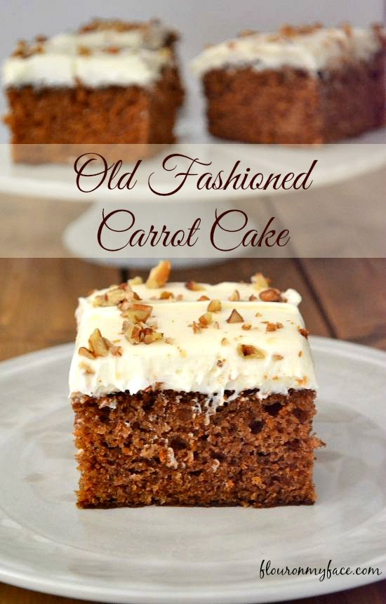 Old Fashioned Carrot Cake recipe via flouronmyface.com