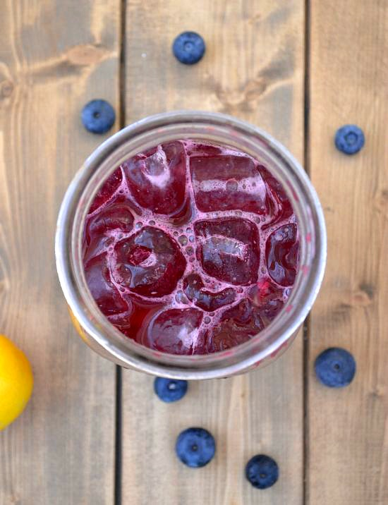 Use a quart mason jar as a shaker to make these Blueberry Meyer Lemon Margaritas in celebration of National Margarita Day