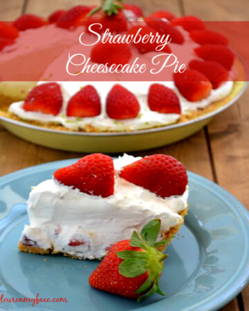 A slice of Strawberry Cheesecake Pie