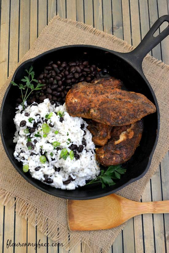Jamaican Jerk Chicken served in a cast iron skillet