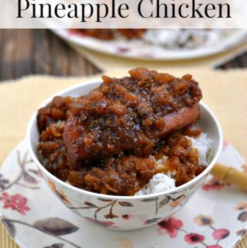 Crock Pot Pineapple Chicken via flouronmyface.com