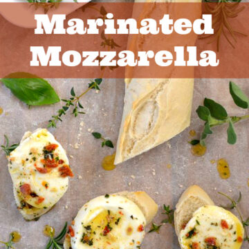 Easy appetizer recipe Marinated Mozzarella via flouronmyface.com
