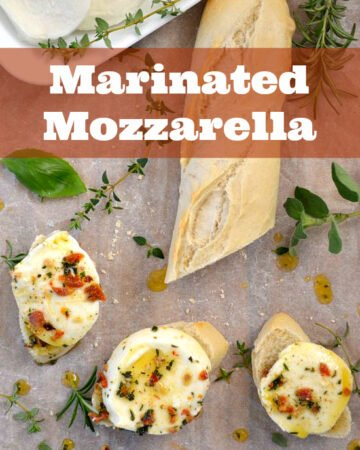 Easy appetizer recipe Marinated Mozzarella via flouronmyface.com