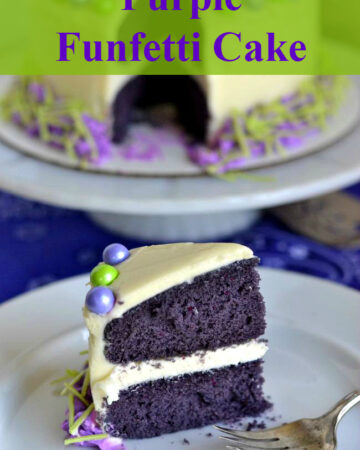 Purple Funfetti Cake, sliced on a plate.