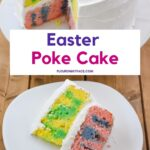 Two layer pastel colored poke cake.