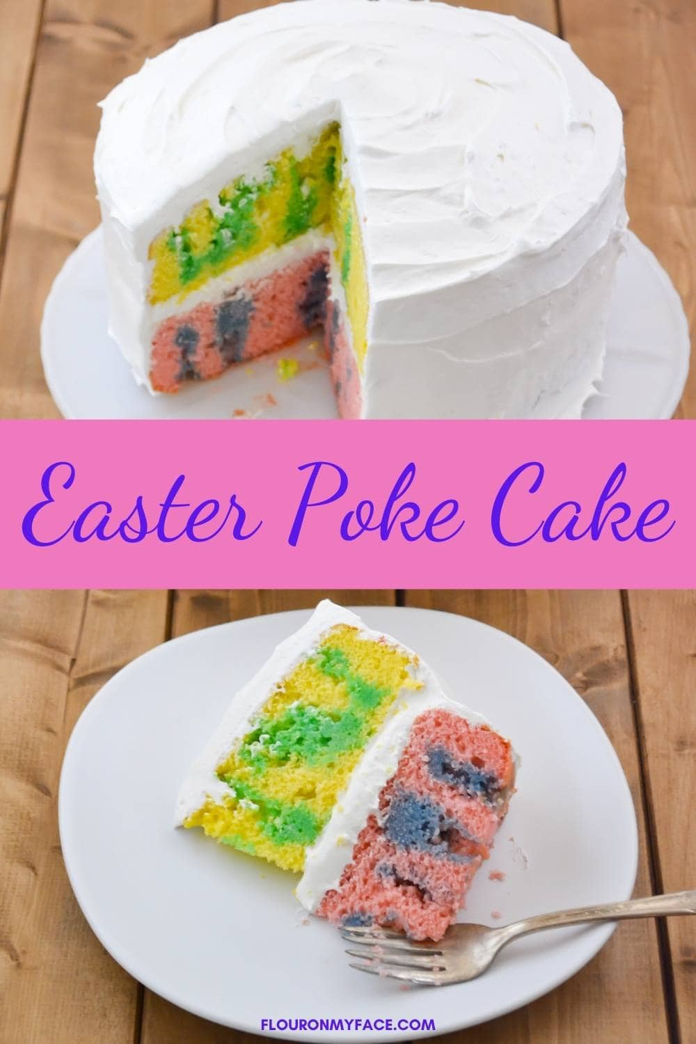 vertical image of a colorful Poke cake for spring.