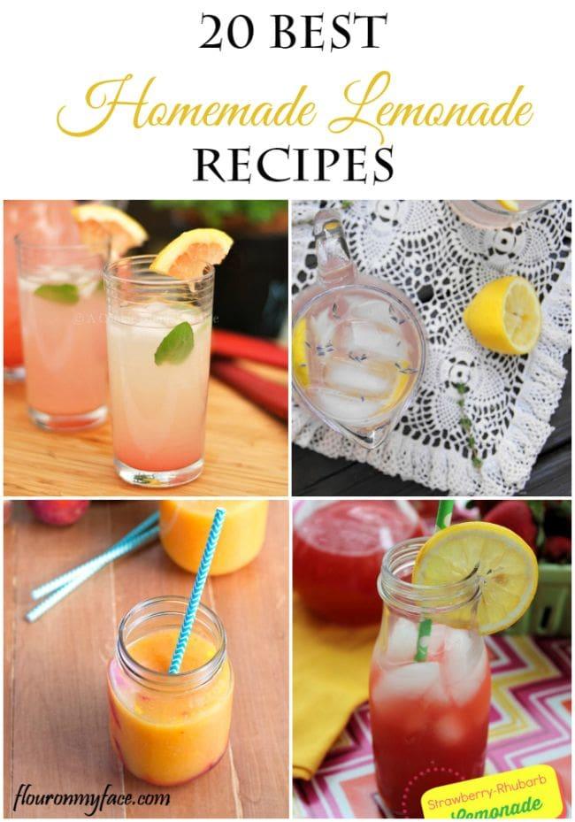 20 Best Homemade Lemonade Recipes via flouronmyface.com