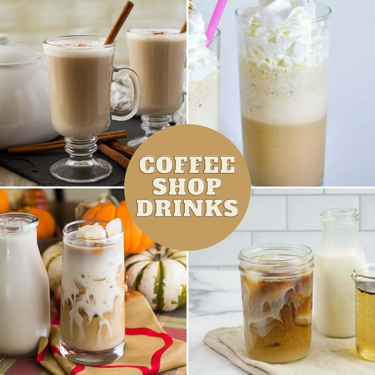 4 photo collage of coffee house drinks.