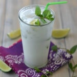 Cool off with a tropical Coconut Mojito, perfect for all celebrations and party cocktails via flouronmyface.com