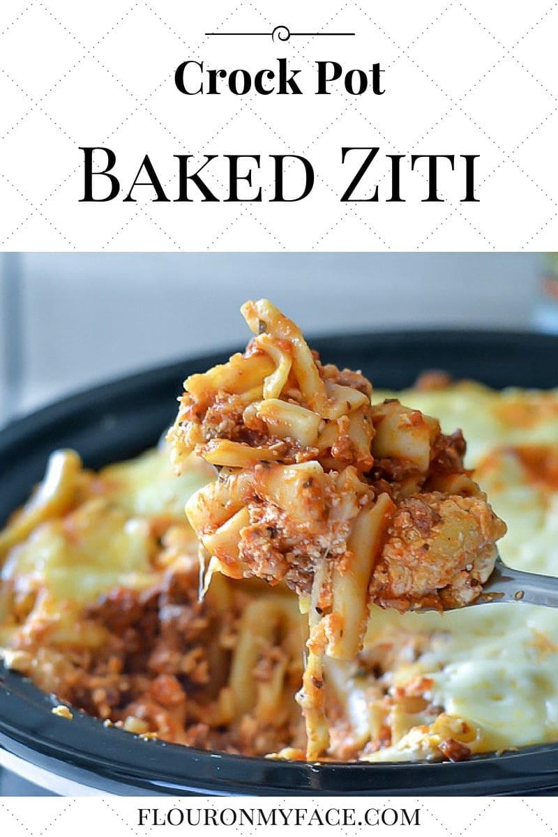Crock Pot Baked Ziti recipe made with uncooked pasta in the slow cooker
