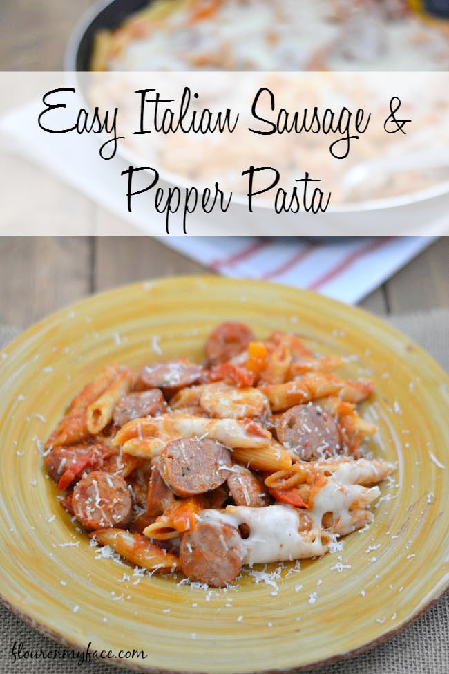 This Easy Italian Sausage & Pepper Pasta can be made in the skillet in under 30 minutes via flouronmyface.com