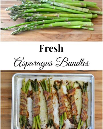 Fresh Asparagus Bundles wrapped in bacon.