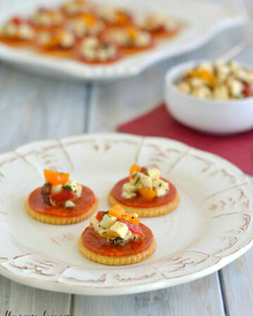 Pepperoni Bruschetta Bites #shop via flouronmyface.com