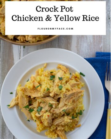 Crock Pot Chicken and Rice recipe served on a white plate.