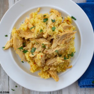 A serving of Crock Pot Chicken and Rice Recipe