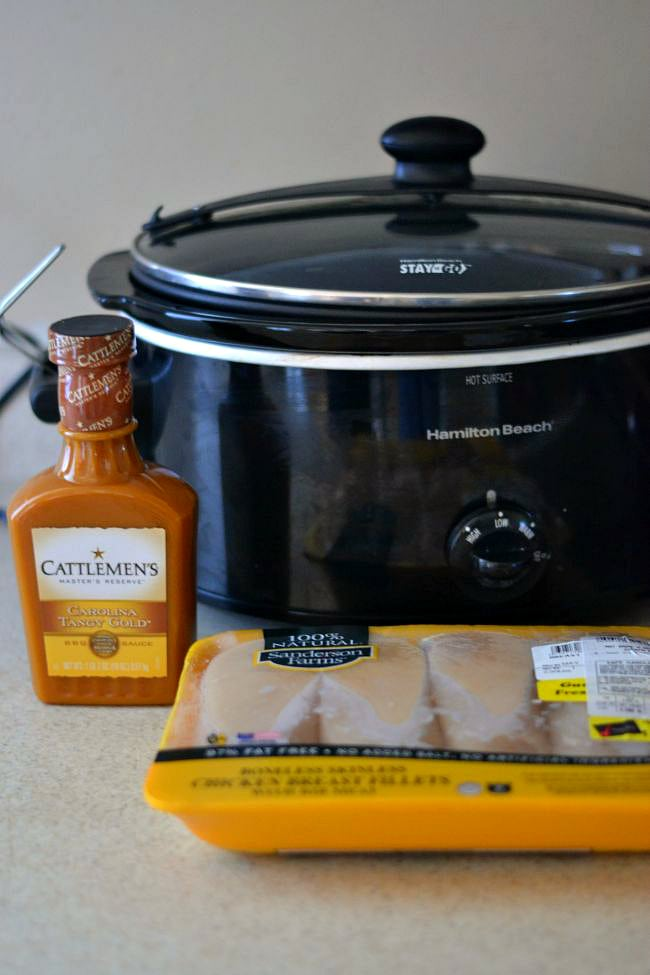 Crock Pot Pulled Chicken with Carolina Style BBQ recipe ingredients via flouronmyface.com