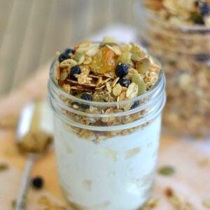 Homemade Pineapple Blueberry Granola with yogurt is a delicious, fast healthy breakfast