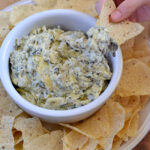Hot Artichoke and Spinach Dip recipe via flouronmyface.com