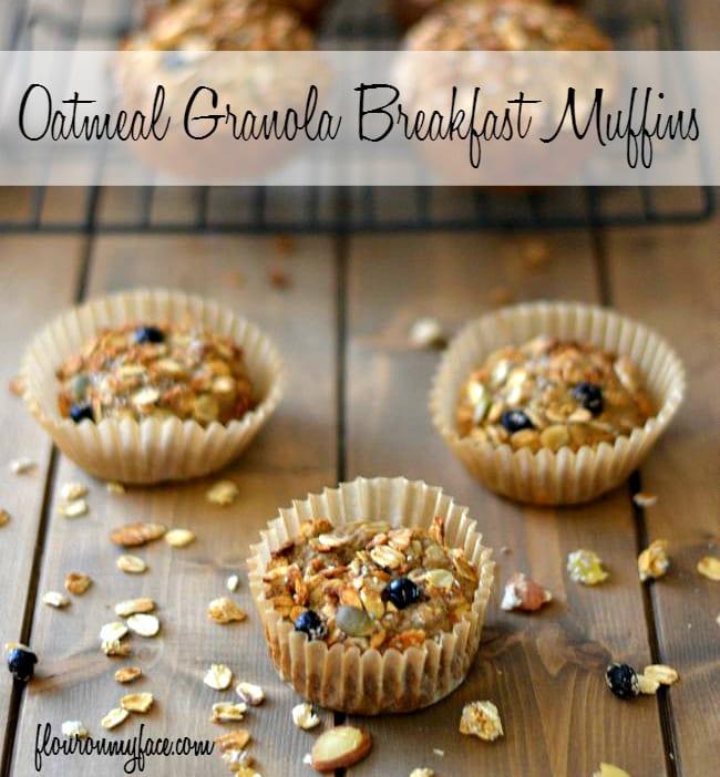 Oatmeal Granola Breakfast Muffins via flouronmyface.com