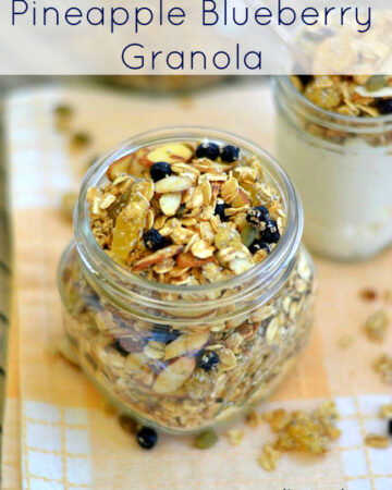 Pineapple Blueberry Granola is a great way to start the morning. Packed full of high energiy ingredients like, pineapple, blueberries, almonds, pumpkin seed and oats with just the right amount of sweetness from DOLE Pineapple juice and a touch of honey. via flour onmyface.com