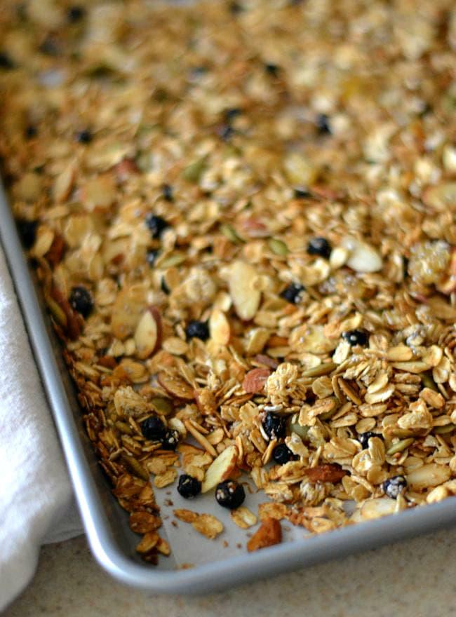 Baking sheet of homemade granola via flouronmyface.com