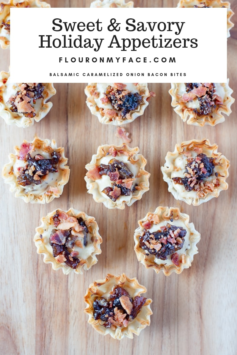 Sweet & Savory Caramelized Onion Cheesecake Bites appetizer for the holidays