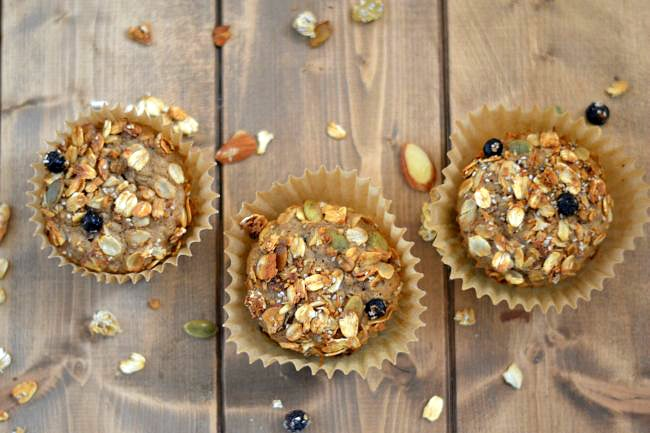 A trio of freshly baked oatmeal muffins frsh from the oven via flouronmyface.com #SplendaSweeties  #SweetSwaps
