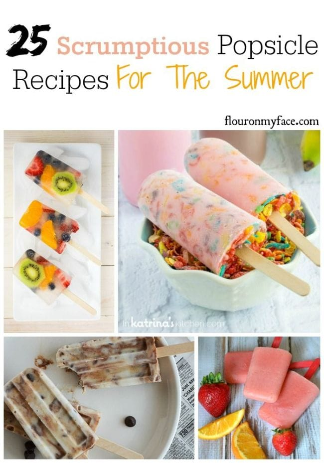 25 Scrumptious Popsicle Recipes for the Summer via flouronmyface.com