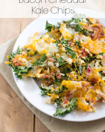 Bacon Cheddar Kale Chips via flouronmyface.com