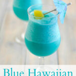 Tropical Frozen Blue Hawaiian Cocktail