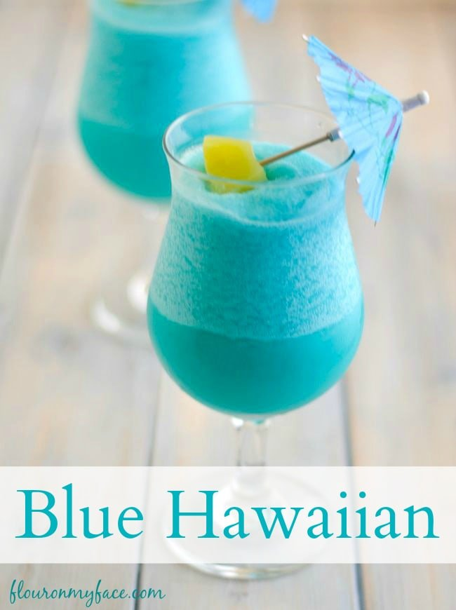 Sip on a frozen Blue Hawaiian Cocktail recipe via flouronmyface.com