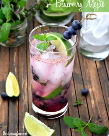 Celebrate National Mojito Day with a Blueberry Mojito recipe via flouronmyface.com
