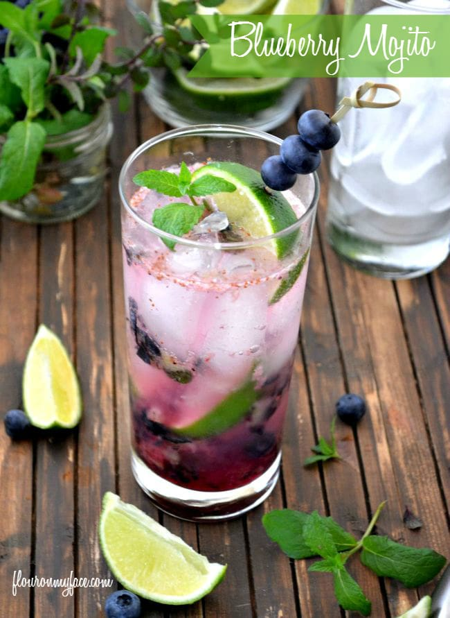 Celebrate National Mojito Day with a Blueberry Mojito recipe via flouronmyface.com
