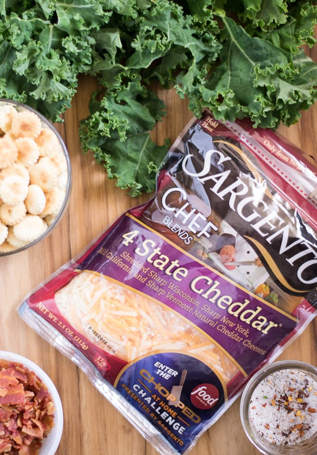 Chopped at home ingredients are kale, bacon, Sargento cheddar cheese and oyster crackers via flouronmyface.com